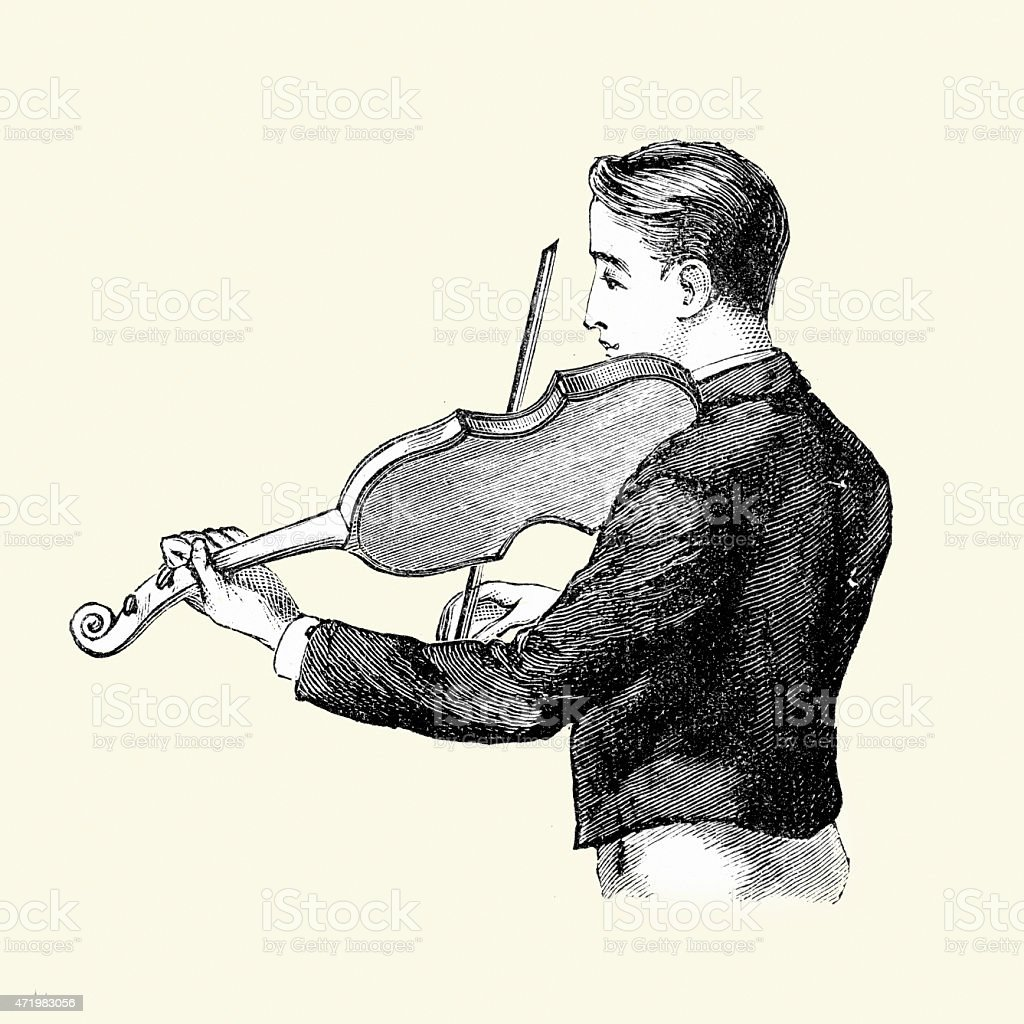 Young Victorian boy playing the Violin 19th Century vector art illustration