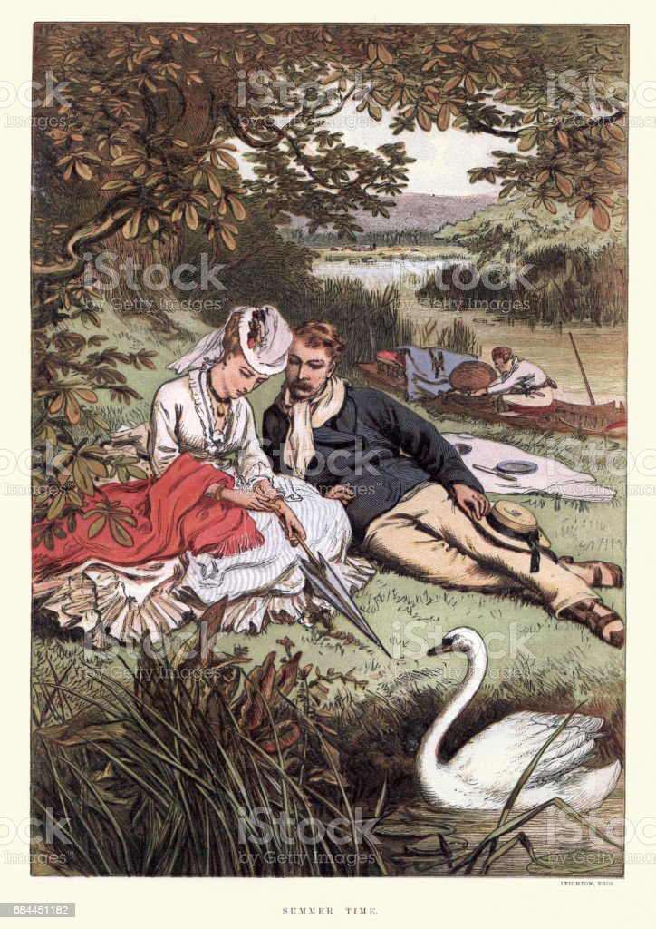 Young victorian couple relaxing on the riverbank 19th Century vector art illustration