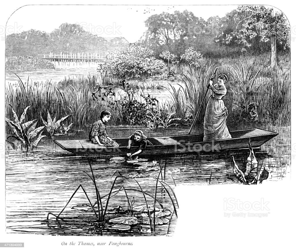 Young Victorian ladies in a punt on the River Thames vector art illustration