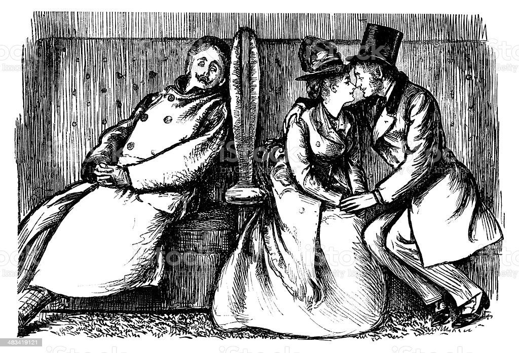 Young Victorian lovers with an eavesdropper vector art illustration