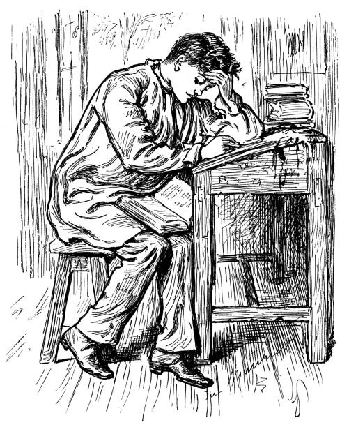 ilustrações, clipart, desenhos animados e ícones de macho jovem vitoriano, sentado em uma mesa, estudando muito - aula de redação
