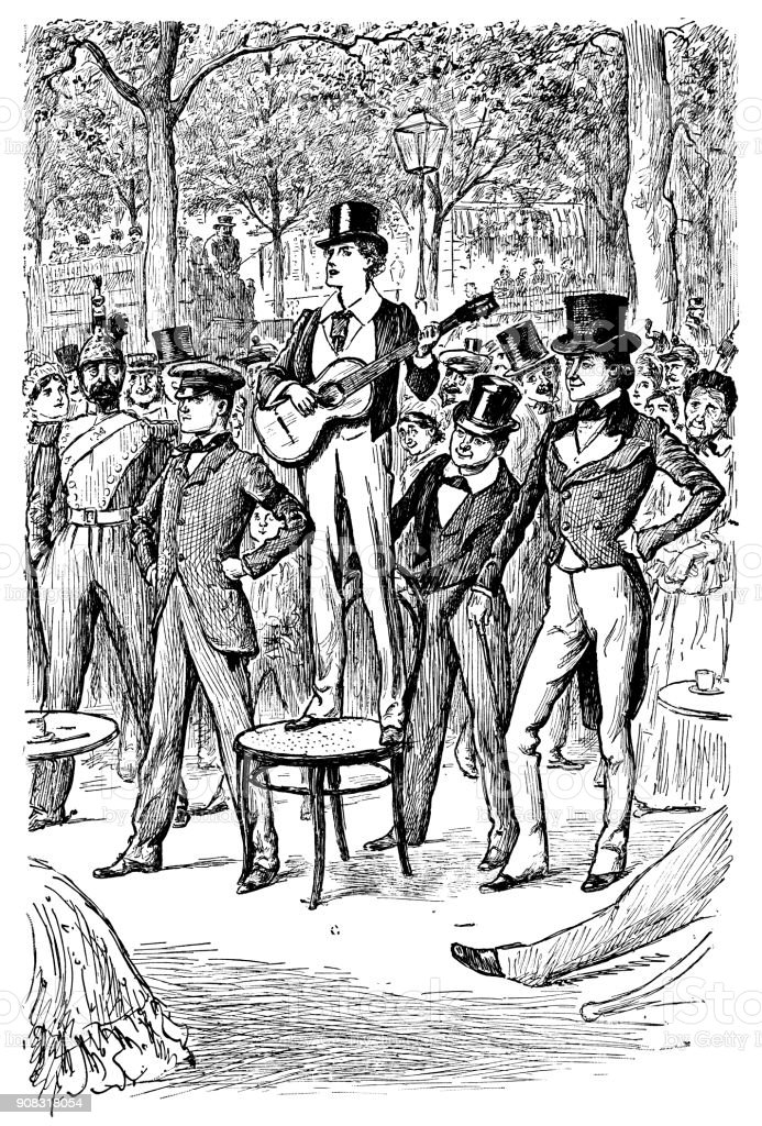 Young Victorian man standing on a chair and playing a guitar vector art illustration
