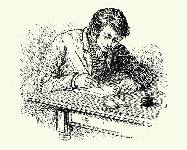 Jeune homme écrire une lettre de style victorien - Illustration vectorielle