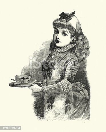 Vintage engraving of Young Victorian servant girl, waitress, carrying a tea cup, 1880s, 19th Century