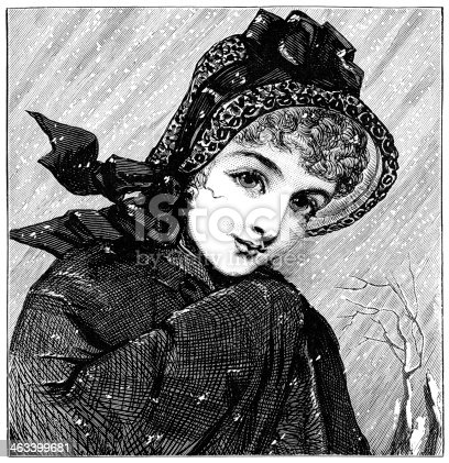 istock Young Victorian woman in the snow 463399681