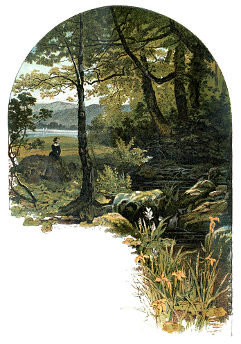 """A young woman sitting in a tranquil woodland setting beside a rocky stream which runs into a nearby lake. From """"Sunday at Home - A Family Magazine for Sabbath reading, 1883"""", published by the Religious Tract Society, London."""