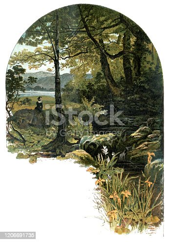 "A young woman sitting in a tranquil woodland setting beside a rocky stream which runs into a nearby lake. From ""Sunday at Home - A Family Magazine for Sabbath reading, 1883"", published by the Religious Tract Society, London."