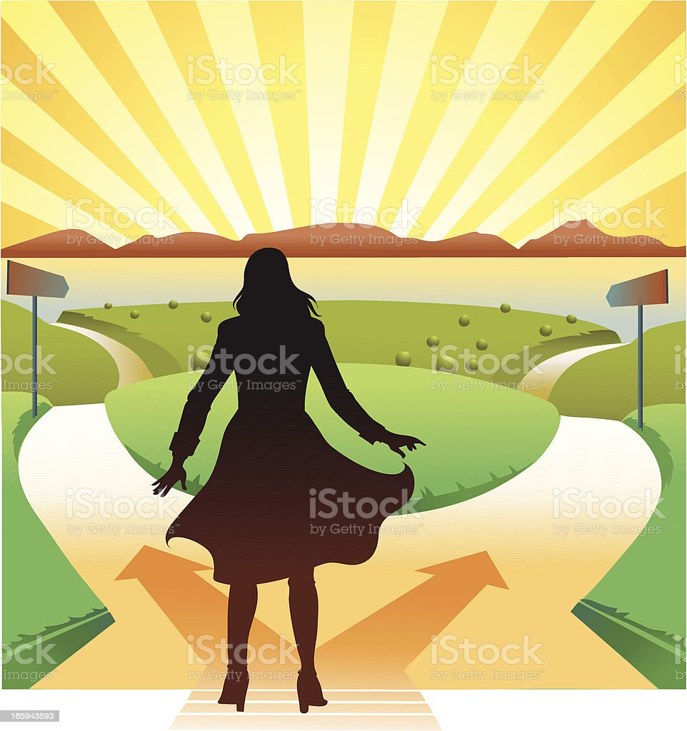 Young Woman at the Crossroads vector art illustration