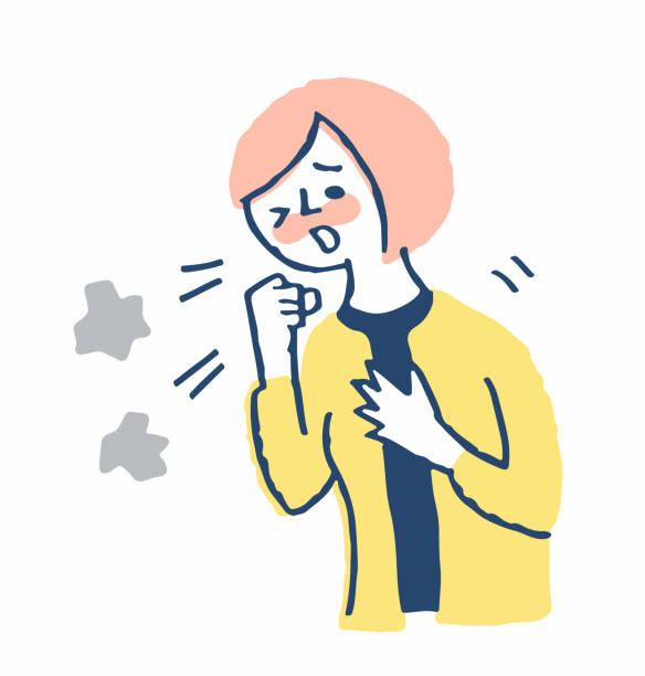 ilustrações de stock, clip art, desenhos animados e ícones de young woman coughing and suffering - mão no peito