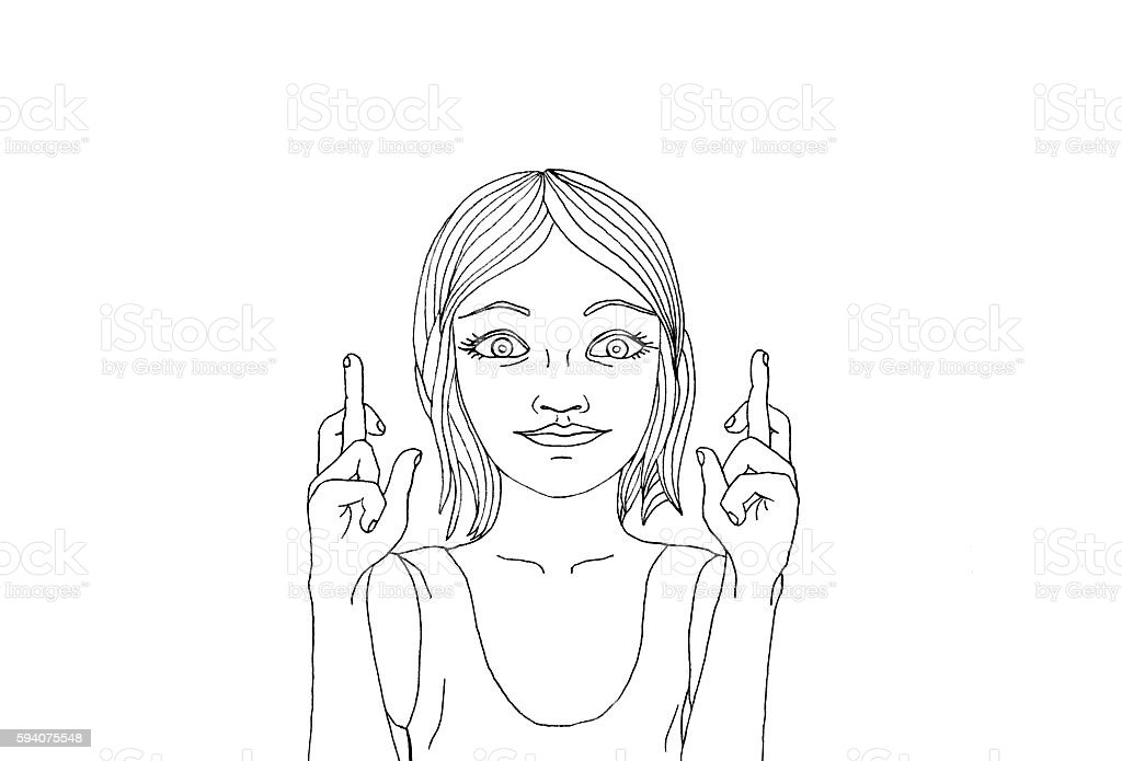 Young woman crossing her fingers. Happy girl makes a wish. vector art illustration