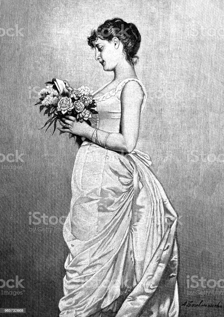 Young woman holding a bouquet of flowers reading the enclosed love letter - Royalty-free 1890-1899 stock illustration