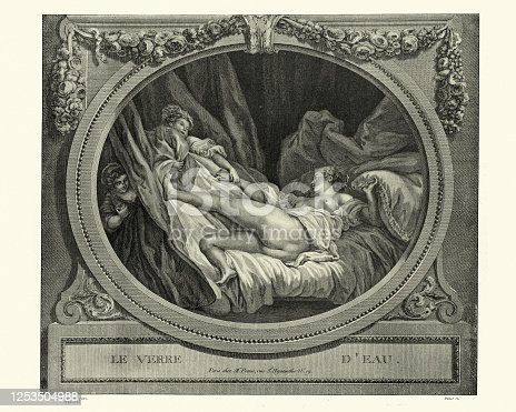 istock Young woman in bed, after Jean-Honore Fragonard, Le Verre D'Eau 1253504988