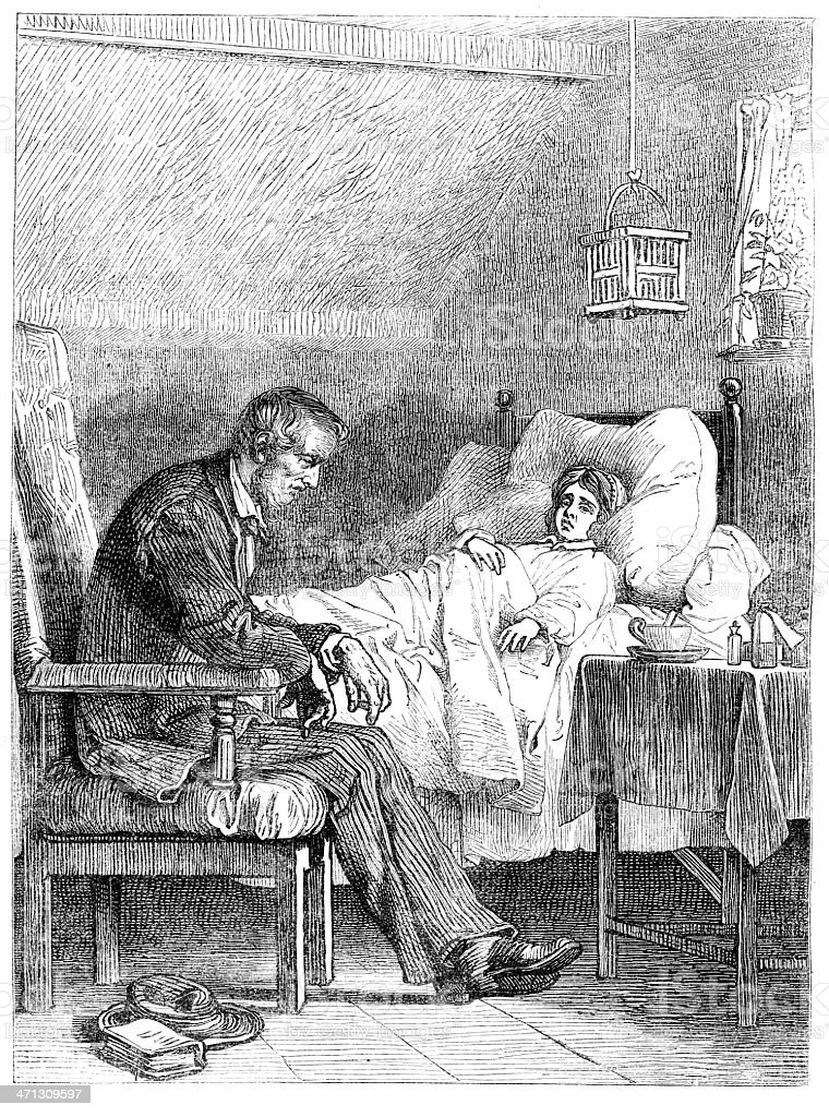 Young woman in sick bed old man bedside 1867 magazine royalty-free young woman in sick bed old man bedside 1867 magazine stock vector art & more images of 19th century style