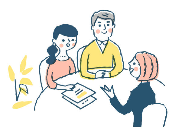 相談するためにカップルと対話する若い女性 - ビジネスマン 日本人点のイラスト素材/クリップアート素材/マンガ素材/アイコン素材