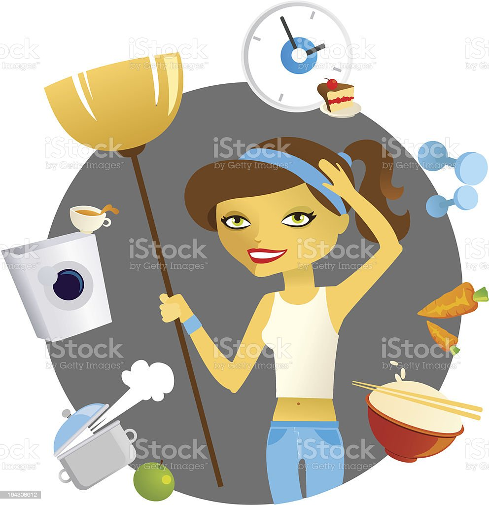 young woman is cleaning royalty-free stock vector art