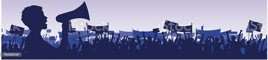 young woman leading demonstration with megaphone vector art illustration