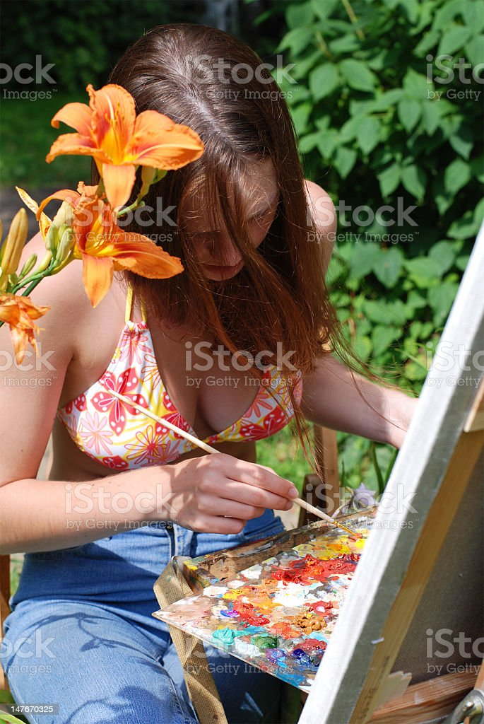 Young woman painting outdoors vector art illustration