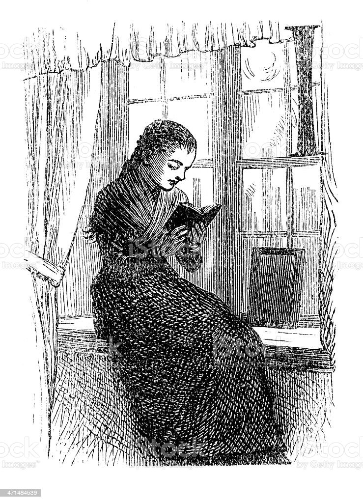 Young woman reading in a window seat   from 1880 journal royalty-free stock vector art
