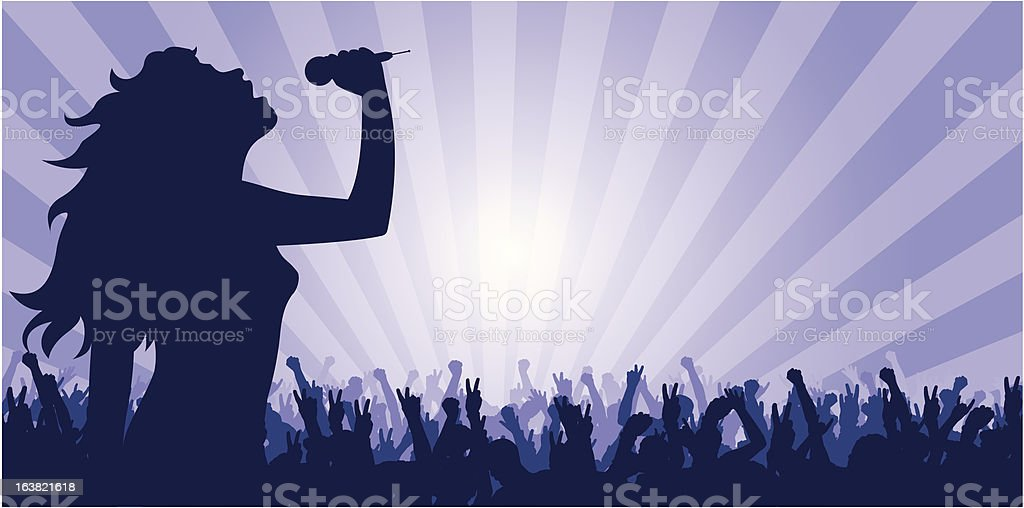 young woman singing on stage royalty-free stock vector art