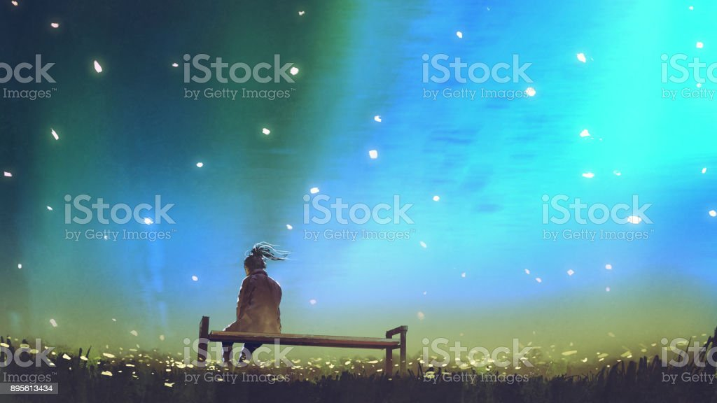 young woman sitting on a bench against the sky vector art illustration