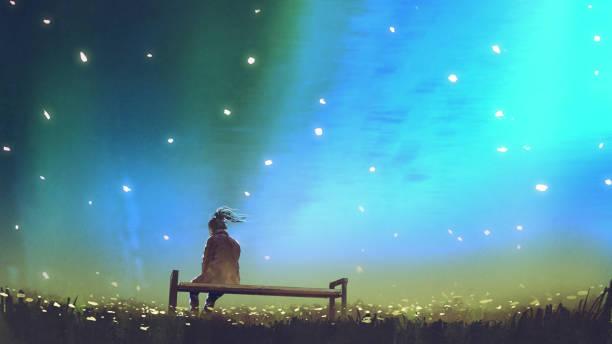 stockillustraties, clipart, cartoons en iconen met jonge vrouw zittend op een bankje tegen de hemel - solitair