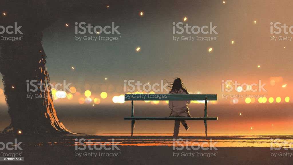 young woman sitting on a bench with bokeh ligh vector art illustration