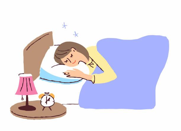 illustrazioni stock, clip art, cartoni animati e icone di tendenza di young woman sleeping in bed - china drug