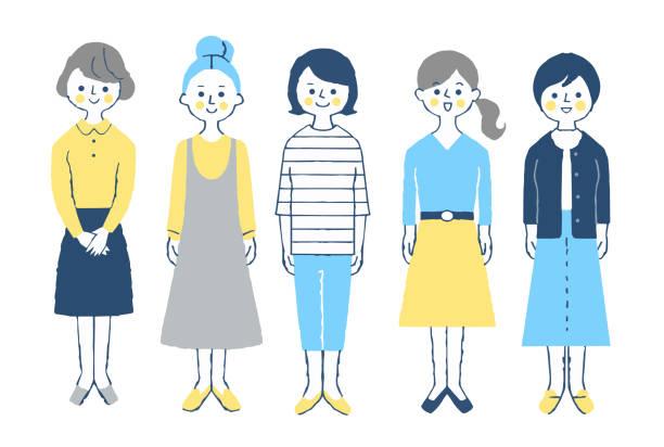 前に立っている5人の若い女性 - 主婦 日本人点のイラスト素材/クリップアート素材/マンガ素材/アイコン素材