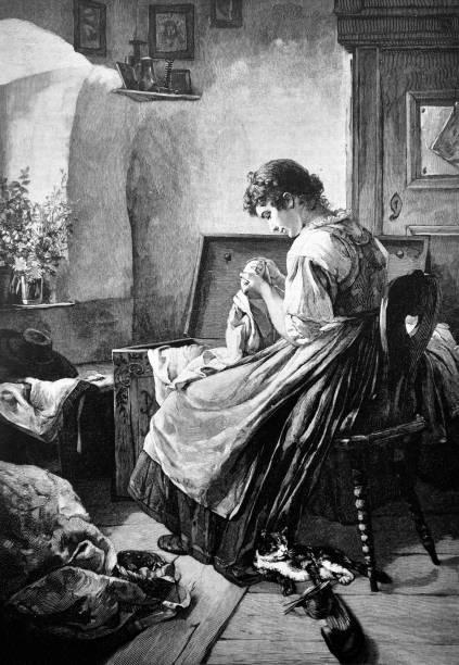 illustrazioni stock, clip art, cartoni animati e icone di tendenza di young woman stitches a beautiful pattern on a decorative scarf - 1888 - tailor working