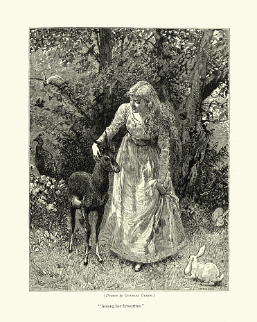 Vintage illustration of Young woman surrounded by wildlife and nature, Victorian, 1870s, 19th Century