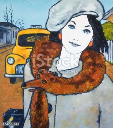 Portrait of a young woman in 1950's style outfit and wearing a fox fur collar. Traveling by taxi cab with suitcase. Oil Painting, painted by Judi Parkinson, title: Foxy Lady.