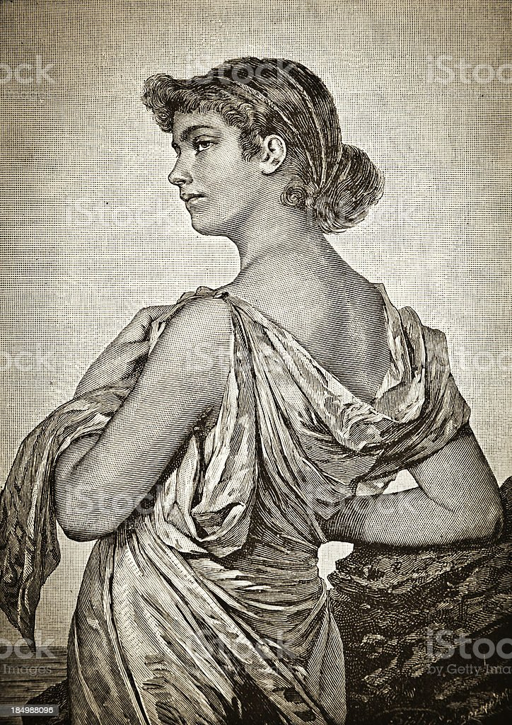 Young Woman - Victorian Steel Engraving vector art illustration