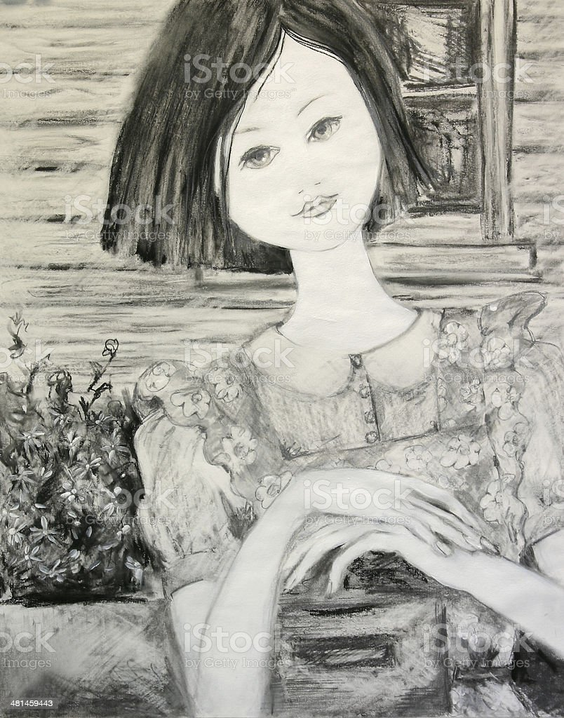 Young Woman Waiting at Letter Box Artwork vector art illustration