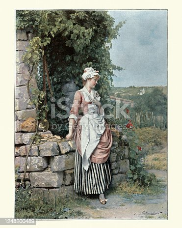 istock Young woman waiting to meet her sweetheart, Victorian 19th Century 1248200489