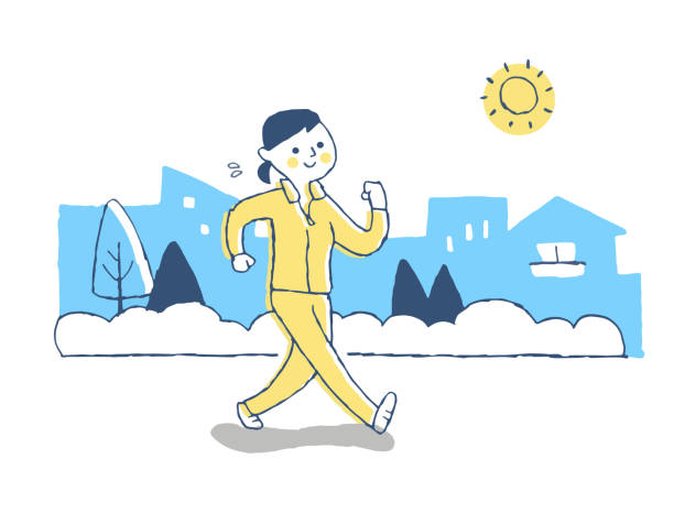 young woman walking outdoors while sweating - vitamin d stock illustrations