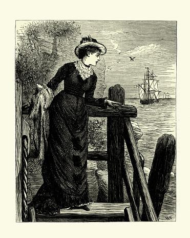 Young woman watching her sweethearts ship sail away, 19th Century