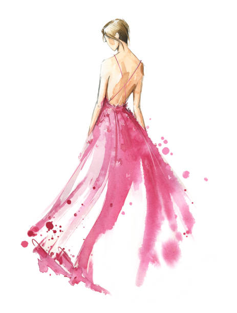 Young woman wearing long evening dress, bride. Watercolor illustration Young woman wearing long evening dress, bride. Watercolor illustration, hand painted fashion design sketches stock illustrations