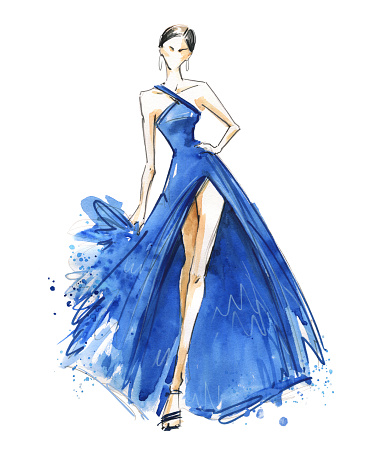 Young woman wearing long evening dress. Catwalk watercolor illustration