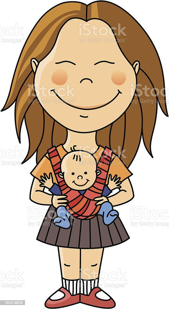 Young woman with baby vector art illustration