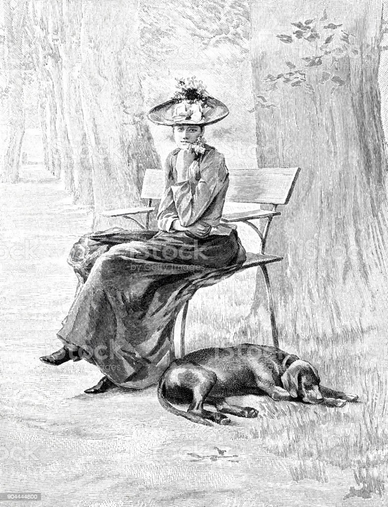Young woman with hat sitting on bench, in contemplation, dog lying on the ground vector art illustration