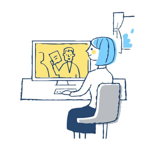 illustrazioni stock, clip art, cartoni animati e icone di tendenza di young woman working on telework - solo giapponesi