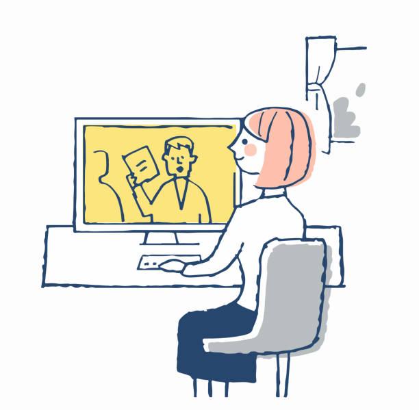 stockillustraties, clipart, cartoons en iconen met jonge vrouw die aan telework werkt - alleen japans