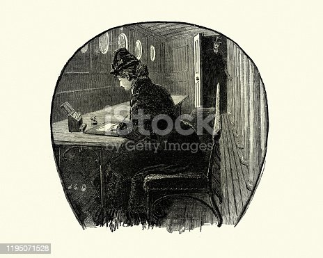 Vintage engraving of Young woman writing a letter in a ships cabin, 19th Century. From My Friend Bellamy by W.G. Waters