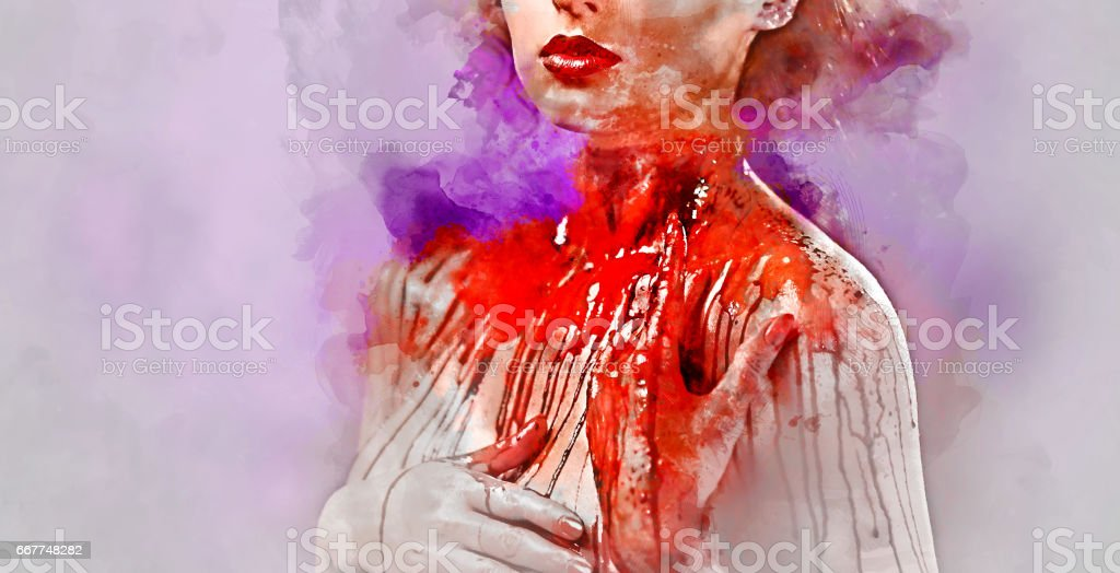 Young woman's body covered with a blood векторная иллюстрация