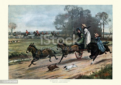 Vintage illustration of Nimrod's daughters, after G. Goodwin Kilburne, 19th Century.  Young women driving donkey cart at hish speed, following the hunt