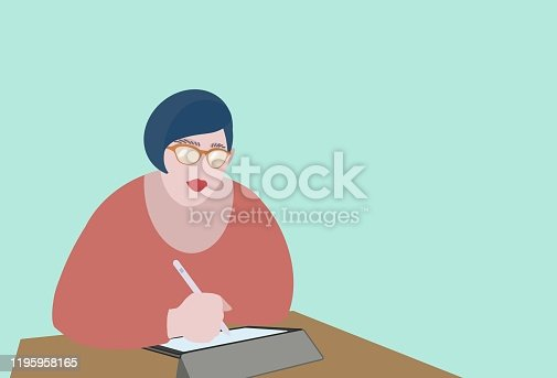 istock Young women using a tablet with electronic pen. 1195958165