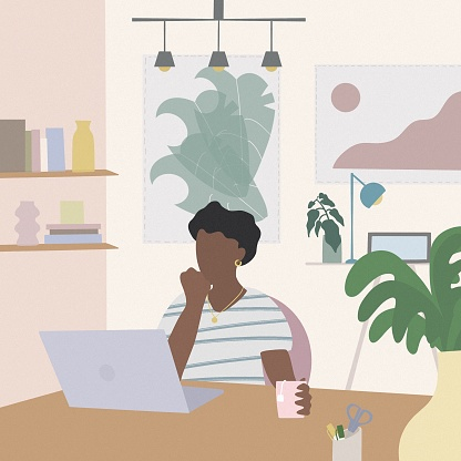 Young women working at home