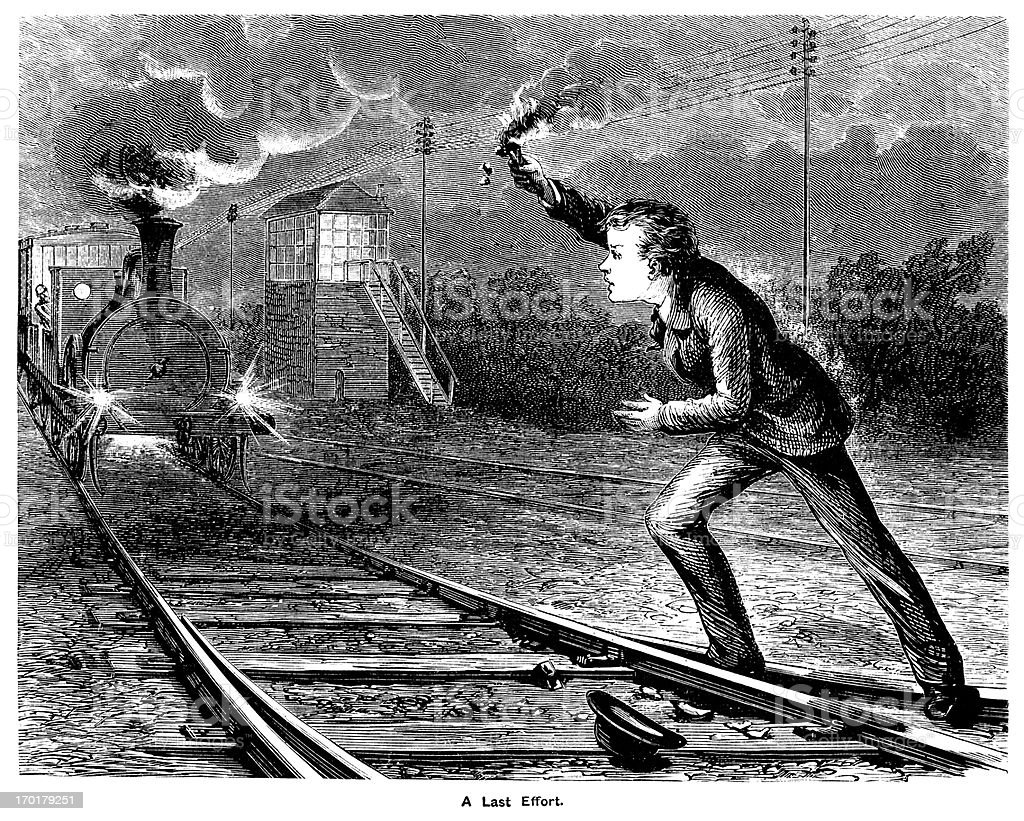 Youth attempting to stop a steam train royalty-free stock vector art