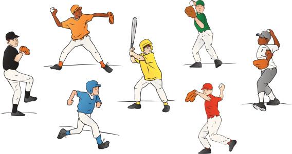 Youth League Baseball Players (Vector Illustration)