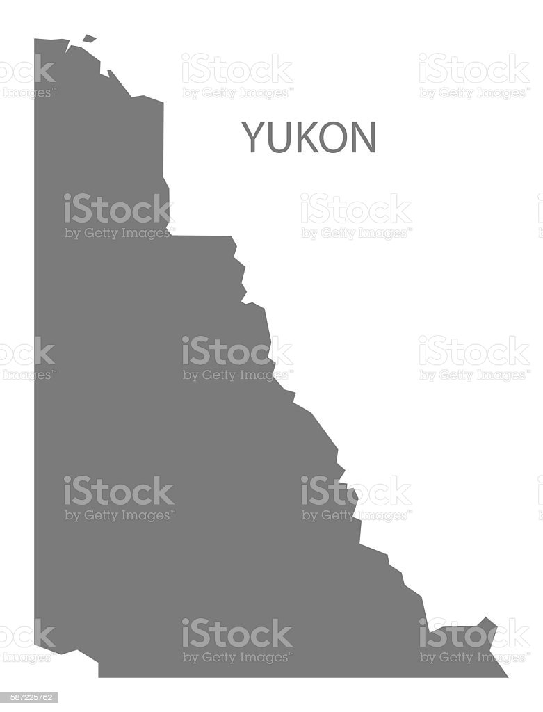 Yukon Canada Map grey vector art illustration
